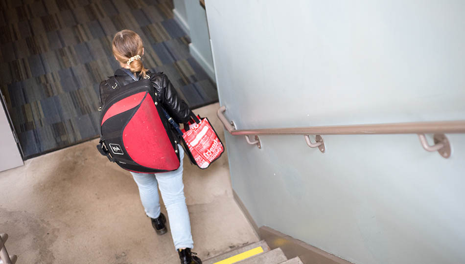 SFCM student in staircase