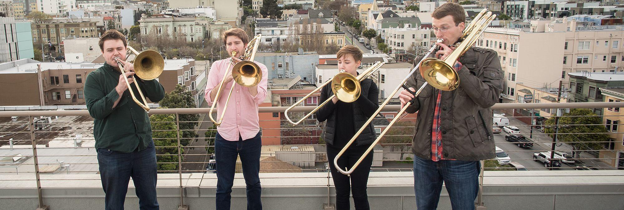 Trombone students performing