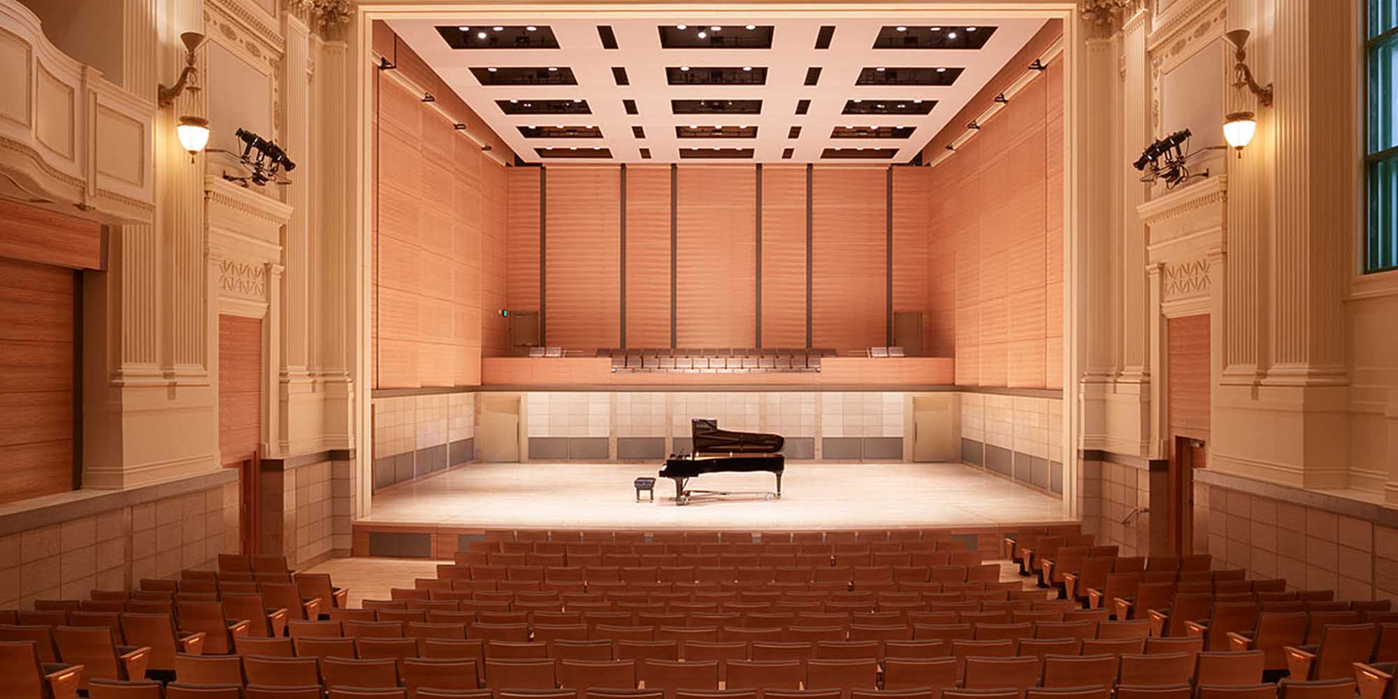 A shot of the Caroline H. Hume Concert Hall at the San Francisco Conservatory of Music