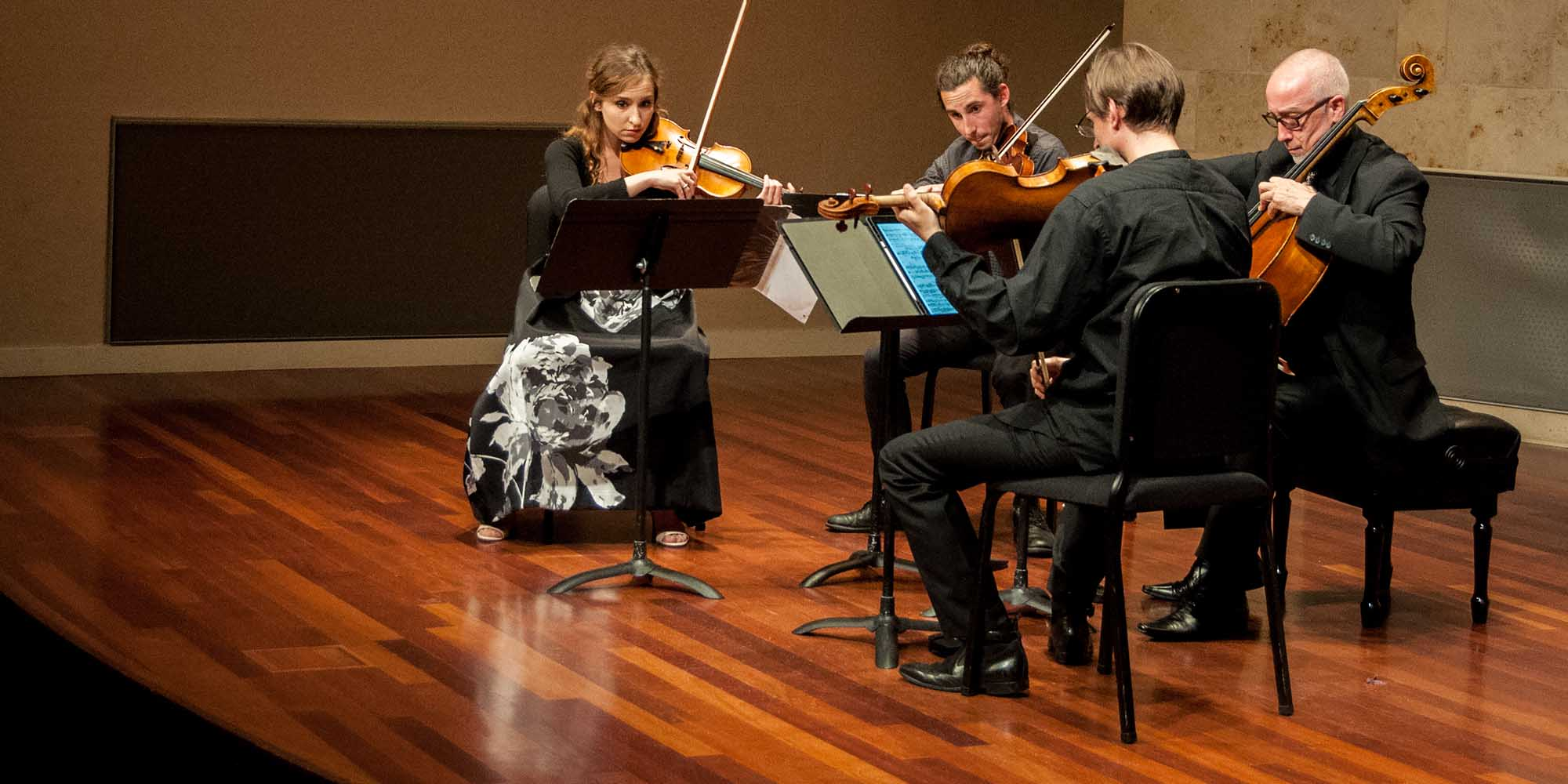 A string quartet performing