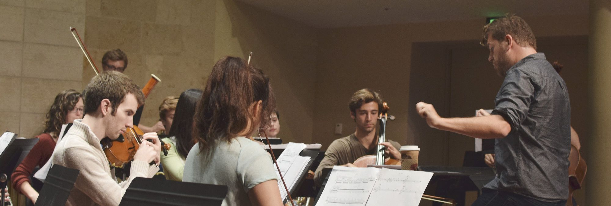 Students in a chamber music practice