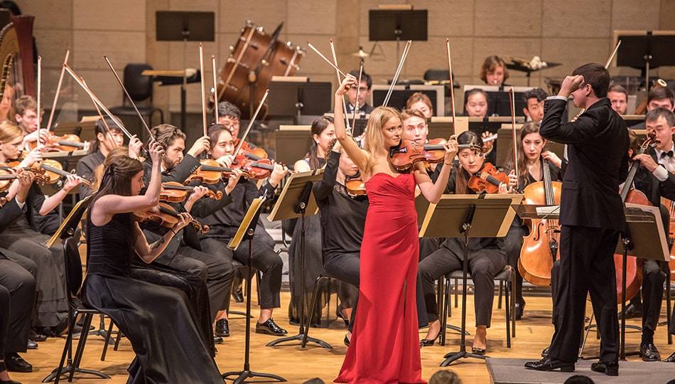 Orchestra concerto winner violin performance