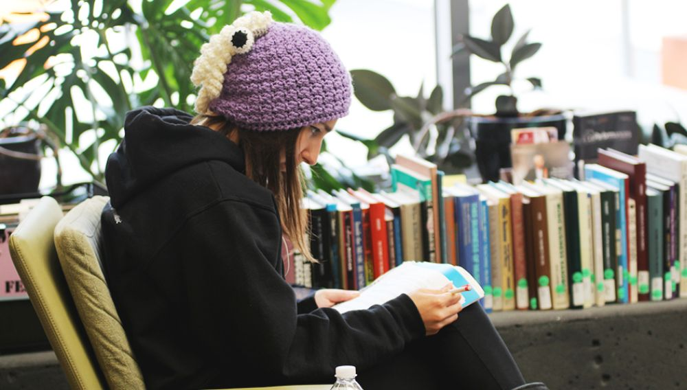 Girl sitting at library