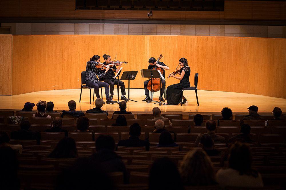 An SFCM Strung Quartet performs in the Caroline H Hume Concert Hall