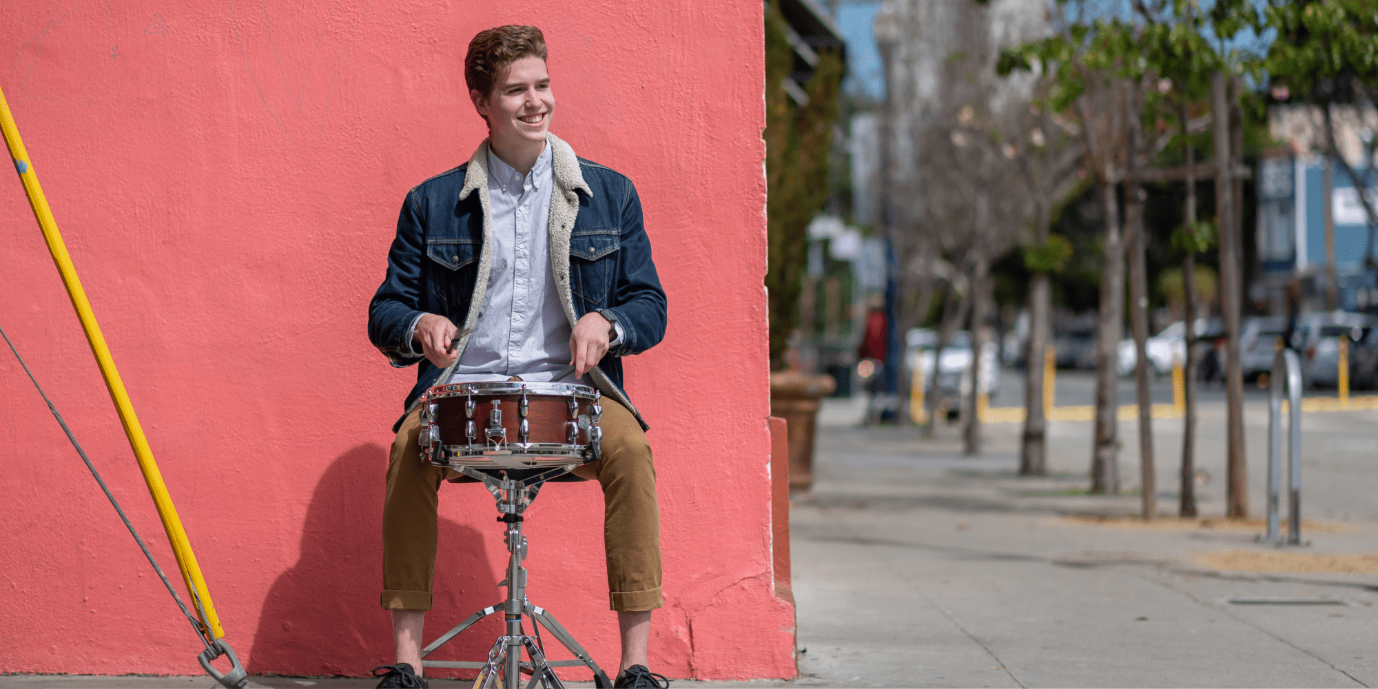 SFCM Percussion student playing outside