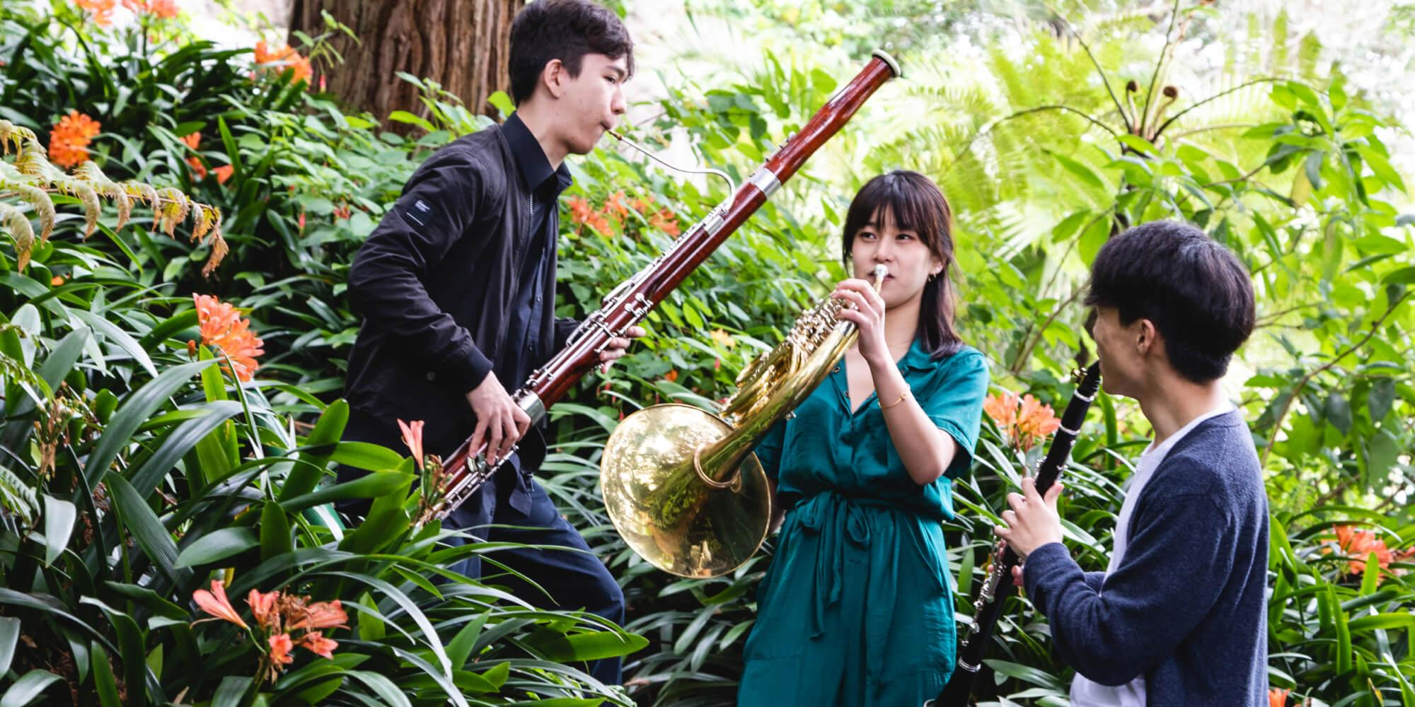 Conservatory students performing outdoors