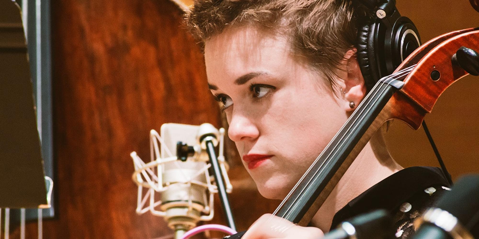 generic cello performance photo microphone vocalist