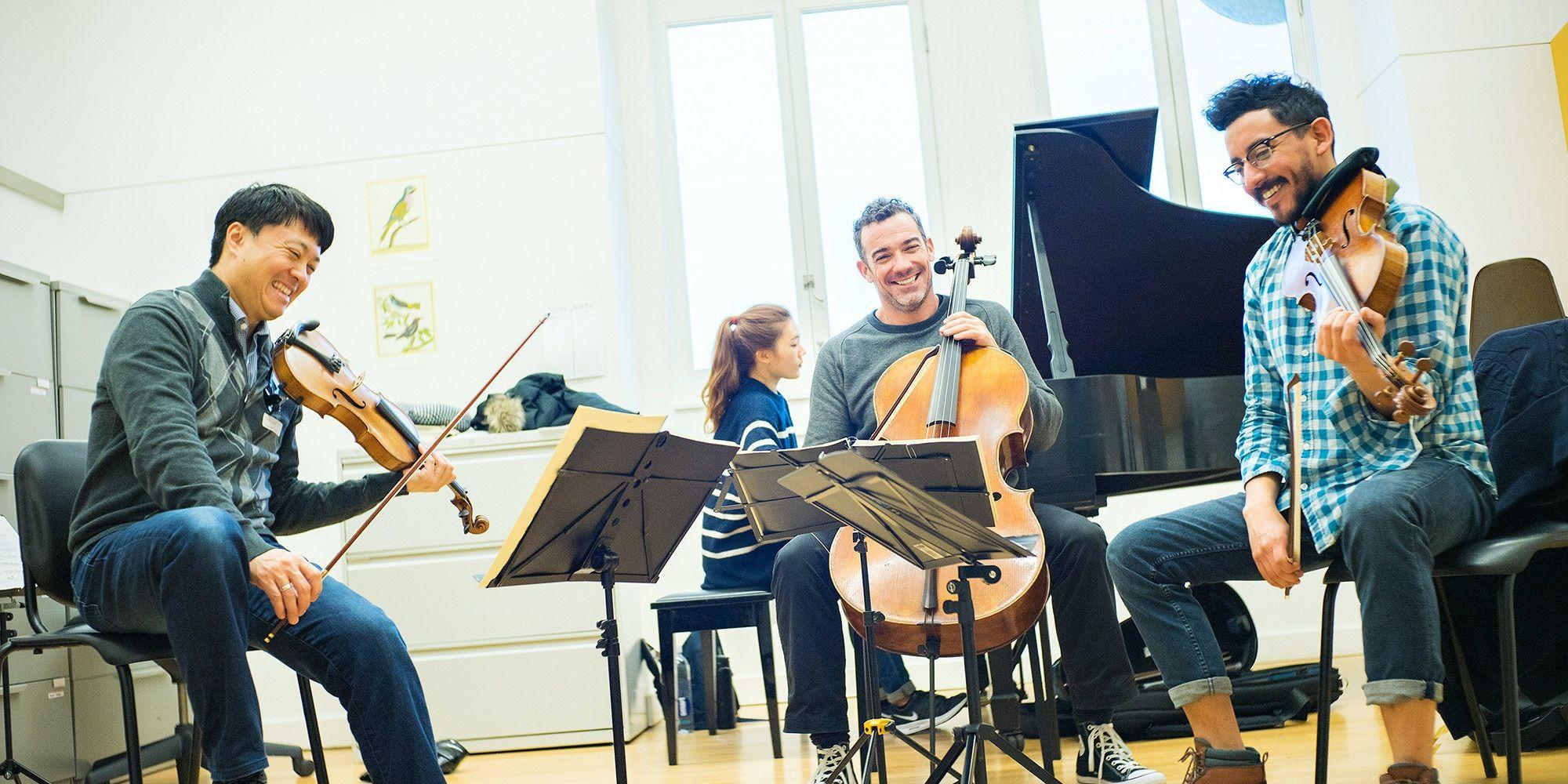Luis Bellorin '17 with Members of the Miró Quartet