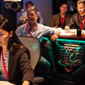 Students in a recording studio