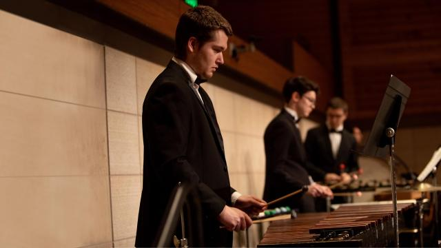 A SFCM student percussionist playing the marimba