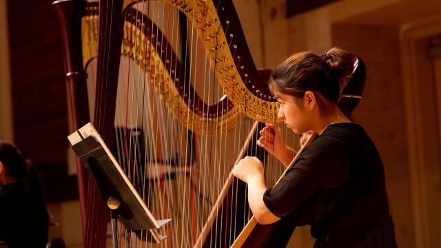 A SFCM student performing on the harp with orchestra