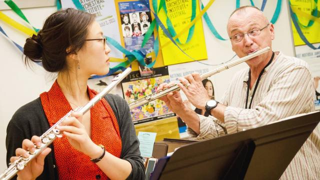 SFCM Flute faculty member, Timothy Day, teaching a student