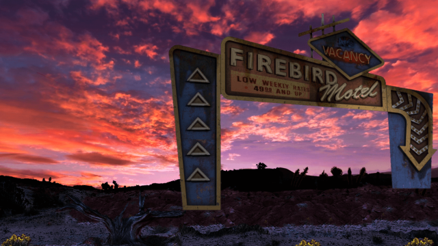 Sunset with Firebird Motel sign