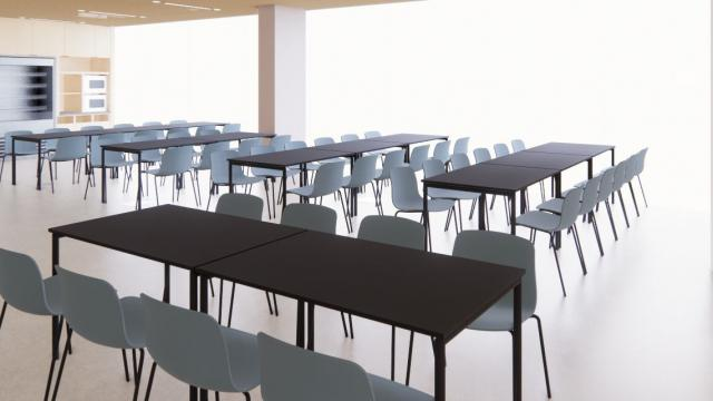 Rendering of Bowes cafeteria. Tables and chairs
