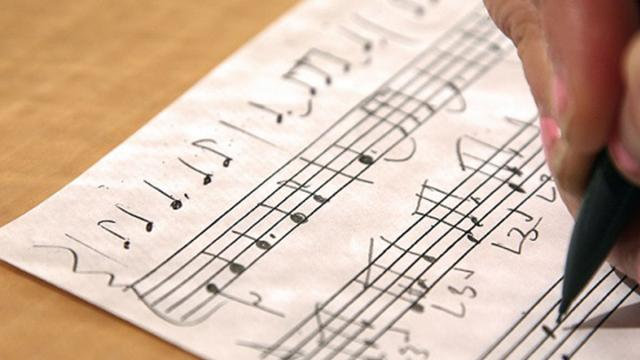 Some staff paper with music on it