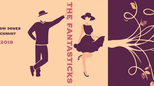 """A man and woman leaning against the words 'The Fantasticks"""""""