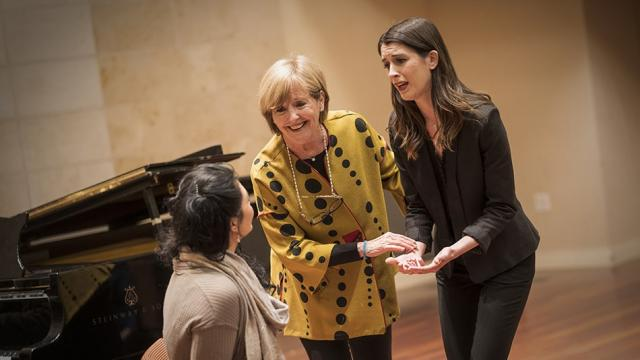 Frederica von Stade (Flicka) with students Marina Davis mezzo soprano and Ariana Maloney soprano